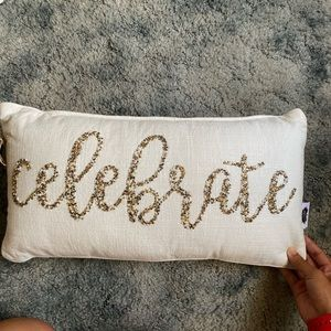"""Celebrate"" beaded throw pillow"
